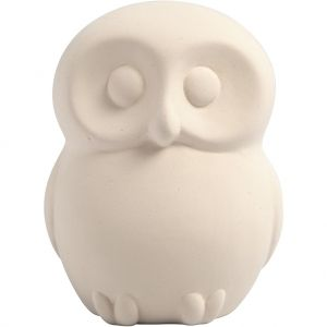 Ceramic Money Bank, white, 1 piece  - Owl C50511