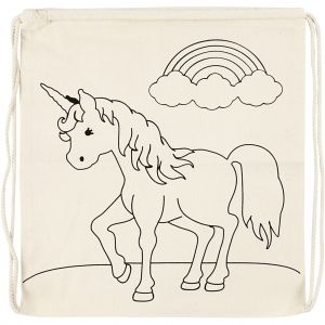 Colouring Drawstring Bag, 1 piece - Unicorn C499652