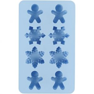 Silicone mold Gingerbread Men + Snowflakes 1pc - C37130