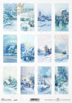 Decoupage Rice Paper A4 - Winter pastoral pictures ITD-R1497