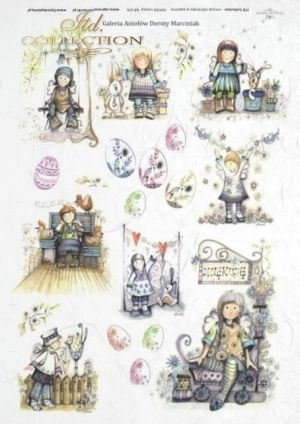 Decoupage Rice Paper A4 -  Easter and children ITD-R0076