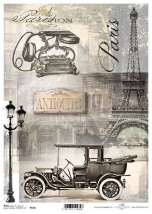 Decoupage Rice Paper A4 -  Retro automobile ITD-R0530
