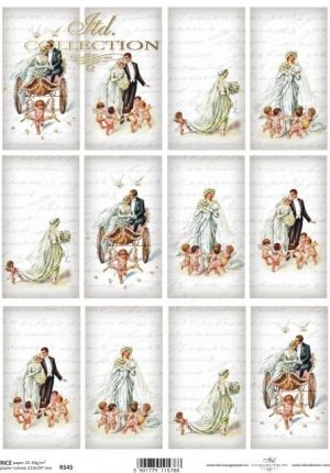 Decoupage Rice Paper A4 -  Vintage, Just married ITD-R0545