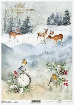 Decoupage Rice Paper A4 - Winter collage ITD-R1638