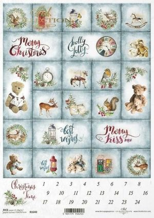 Decoupage Rice Paper A4 - Advent calendar ITD-R1640