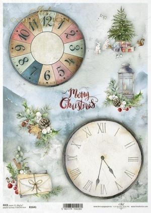 Decoupage Rice Paper A4 - Christmas tree, clocks and lantern ITD-R1641