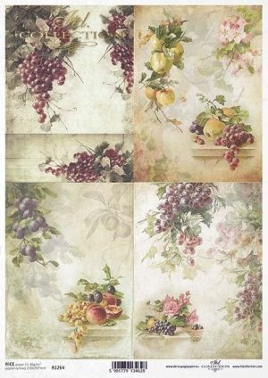 Decoupage Rice Paper А4 - Grapes, plums, peaches, apples ITD-R1264