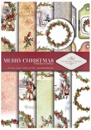 Paper pad А4, 5 sheets. - Merry Christmas ITD-SCRAP-021