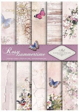 Paper pad А4, 5 sheets. - Rosy summertime ITD-SCRAP-045