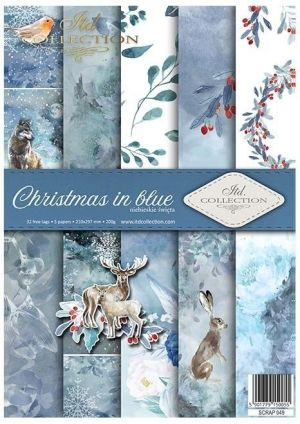 Paper pad А4, 5 sheets. -  Christmas in blue ITD-SCRAP-049