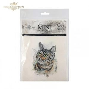 Decoupage Rice Paper set 6 sheets. 14.8х14.8сm - Dogs, cats ITD-RSM006