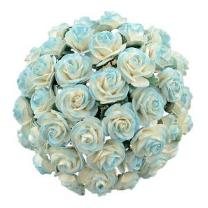 Paper Blossoms 5 pcs - 2-TONE LIGHT TURQUOISE MULBERRY PAPER OPEN ROSES  MKX-644