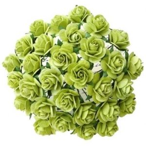 Paper Blossoms 10 pcs - LIGHT LIME GREEN MULBERRY PAPER OPEN ROSES MKX-634