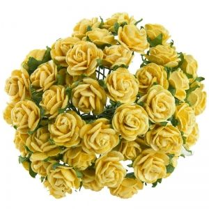 Paper Blossoms 10 pcs - YELLOW MULBERRY PAPER OPEN ROSES MKX-530-1