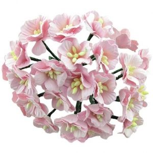Paper Blossoms 5 pcs - LIGHT PINK MULBERRY PAPER APPLE BLOSSOMS MKX-230
