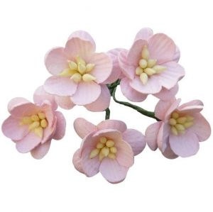 Paper Blossoms 5 pcs - PALE PINK MULBERRY PAPER CHERRY BLOSSOMS MKX-591