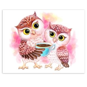 Painting by numbers 30x40cm - Cute Owls ME1125e