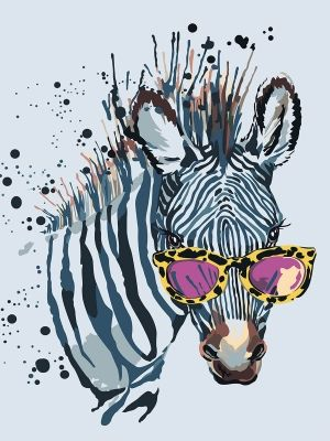 Painting by numbers 30x40cm - Zebra with Glasses ME1114e