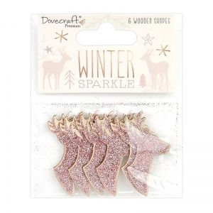 Wooden Tags 6 pcs - Glittered Wooden Shapes Stags DCWDN110X20