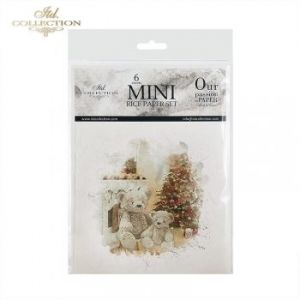 Decoupage Rice Paper set 6 sheets. 14.8х14.8сm - Teddy under the Christmas tree ITD-RSM025