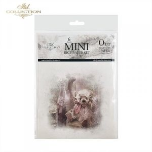 Decoupage Rice Paper set 6 sheets. 14.8х14.8сm - Retro teddy bear ITD-RSM024