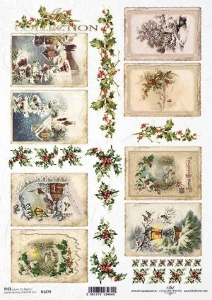 Decoupage Rice Paper А4 - Winter framed pictures ITD-R1279