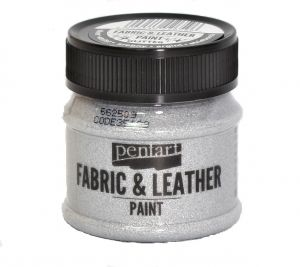 Fabric and leather paint 50ml - glittering silver P35139