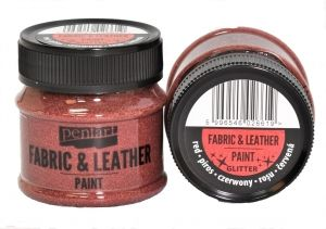 Fabric and leather paint 50ml - glittering red P35141