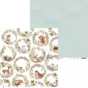 "Double-sided scrapbook paper 12""x12"" - PapPaper Forest tea party 02 P13-FOR-02"