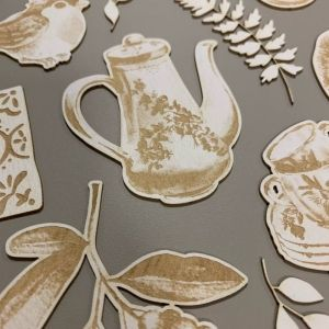 Light chipboard embelishments Forest tea party 01, 6pcs P13-FOR-43