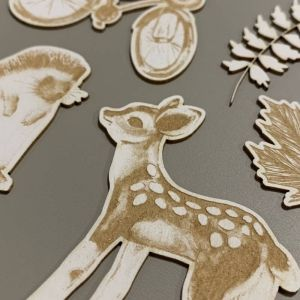 Light chipboard embelishments Forest tea party 02, 7pcs P13-FOR-44