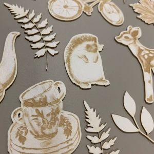 Light chipboard embelishments Forest tea party 03 P13-FOR-45