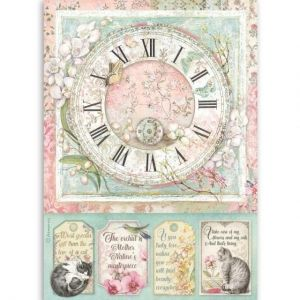 Decoupage Rice Paper A4 - Clock DFSA4513