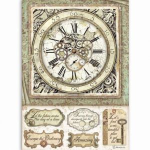 Decoupage Rice Paper A4 - Clock with mechanisms DFSA4519