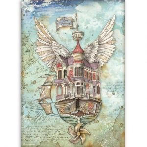 Decoupage Rice Paper A4 - Flying ship DFSA4521