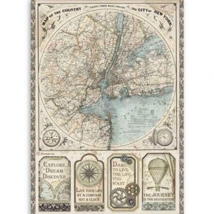 Decoupage Rice Paper A4 - Map of New York DFSA4515