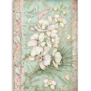 Decoupage Rice Paper A4 - White orchid DFSA4508