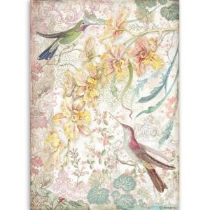 Decoupage Rice Paper A4 - Yellow orchids and birds DFSA4510