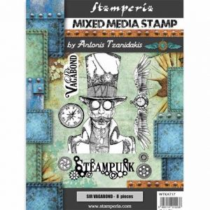 Rubber stamp 15x20cm - Sir Vagabond steampunk WTKAT17