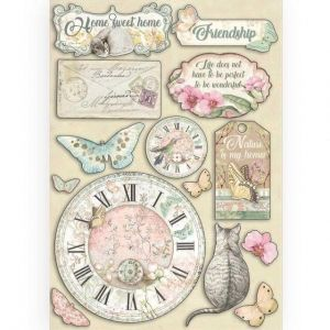 Chipboard A5,14.8x21 cm - Clock and labels KLSP090