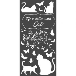 Thick stencil 12x25 cm - Life is better with cats KSTDL44