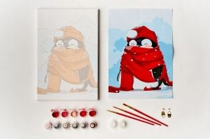 Painting by numbers 20x30cm - Red Scarf Penguin MC1054e