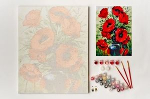 Painting by numbers 40x50cm - Poppies Bouquet MG2142e