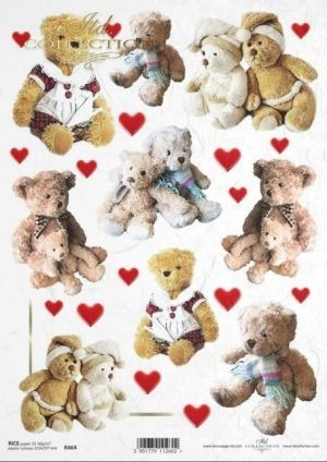 Decoupage Rice Paper А4 - Bears, hearts ITD-R0464