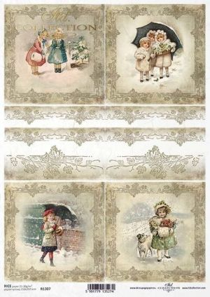 Decoupage Rice Paper А4 - Winter, kids, ornament, frame ITD-R1307