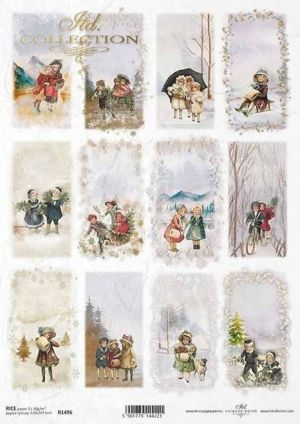 Decoupage Rice Paper А4 - Winter pictures, motifs for candles, bottles ITD-R1496