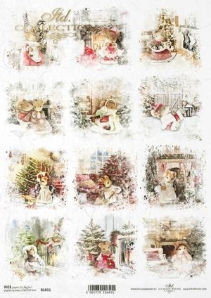 Decoupage Rice Paper А4 - Christmas mice ITD-R1811