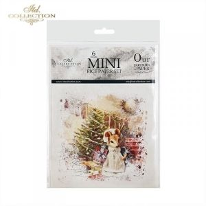 Decoupage Rice Paper set 6 sheets. 14.8х14.8сm - Christmas mouse ITD-RSM028