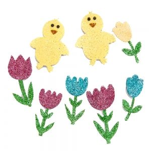 3D Glitter stickers 8pcs - Easter Eggs DPNB-026