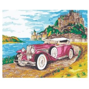 Painting by numbers 30x40cm - Cadillac on the background of the castle ME1054e